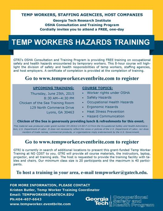 Temp Workers Hazards Training | Toombs County Development Authority